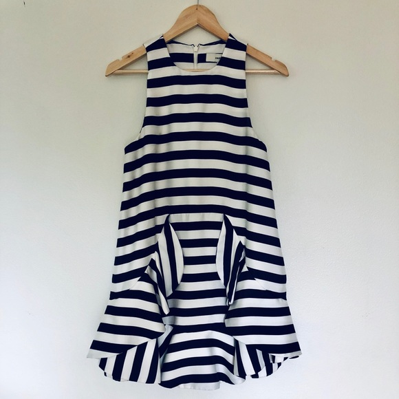 cameo Dresses & Skirts - Cameo boutique brand white/navy strip mini dress